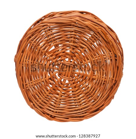 Bottom of the wicker basket isolated on white background - stock photo