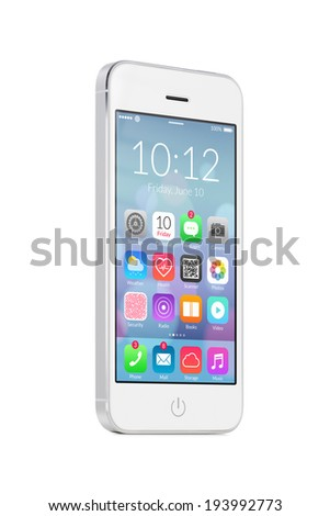 Bottom up view of rotated at a slight angle white modern mobile smart phone with colorful flat design application icons on the screen isolated on white background. High quality. - stock photo
