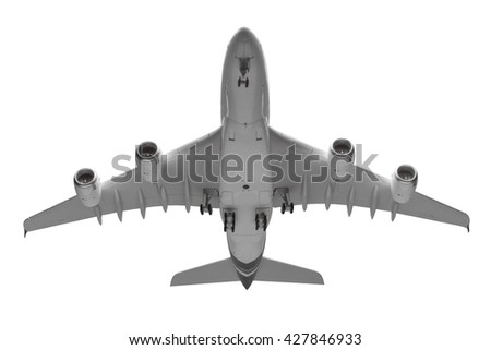 Bottom view airplane takeoff isolated on white background with clipping path - stock photo