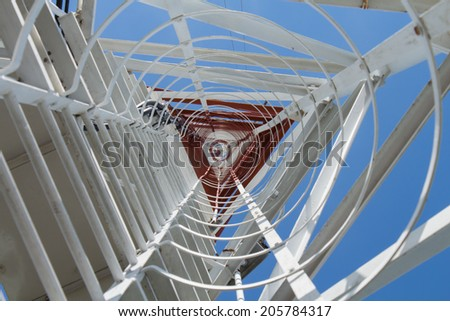 Bottom view communication tower 73 meter - stock photo