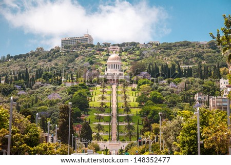 Bottom view of the Baha'i gardens and the temple on Carmel mountain in Haifa, Israel. - stock photo