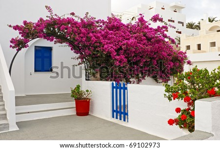 Bougainvillea and traditional architectural details of Santorini, Greece. - stock photo