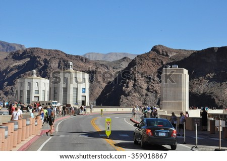 BOULDER CITY, NV - OCT 26: Hoover Dam in Nevada, as seen on Oct 26, 2015. It was constructed between 1931 and 1936 during the Great Depression and was dedicated in 1935, by President Roosevelt. - stock photo
