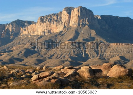 Boulders and El Capitan at sunset - Guadalupe Mountains National Park - stock photo