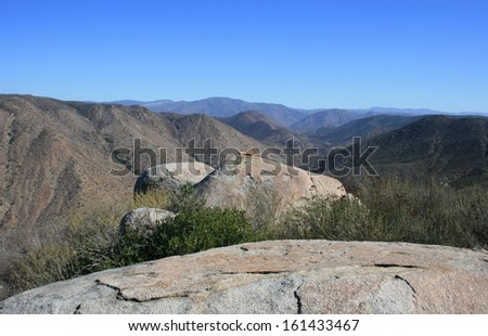 Boulders on a hill side, California - stock photo