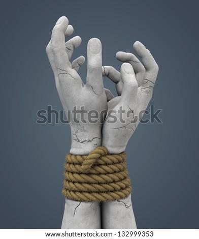 bound stone hands - stock photo
