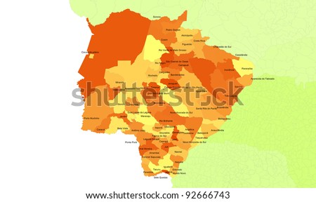 Boundaries of Mato Grosso do Sul State - midwest Brazil - stock photo
