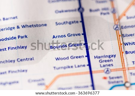 Bounds Green Station on a map of the Piccadilly metro line in London, UK. - stock photo