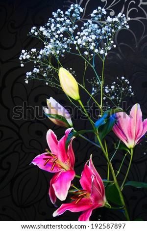 Bouquet. Beautiful flowers  on dark background. - stock photo