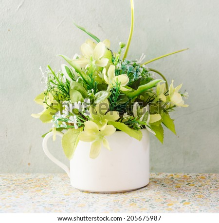 bouquet flower in vase - stock photo