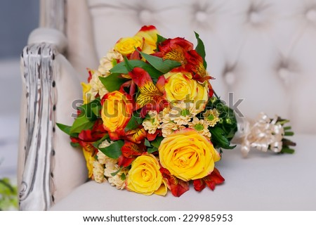 bouquet flowers and yellow rose - stock photo