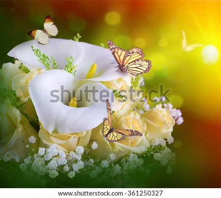 Bouquet for the bride of yellow roses and white calla lilies,  butterfly. - stock photo