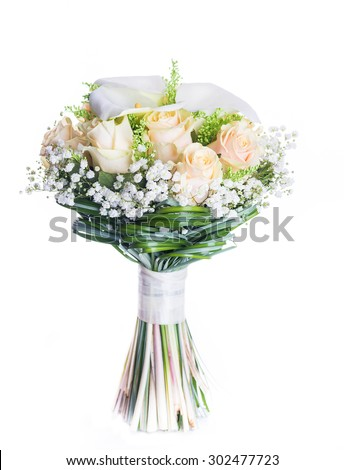 Bouquet for the bride of yellow roses and white calla lilies, floral background. - stock photo
