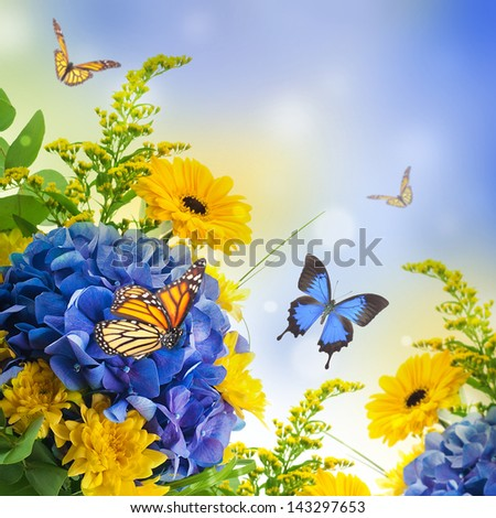 Bouquet from blue hydrangeas and  butterfly, a flower background - stock photo