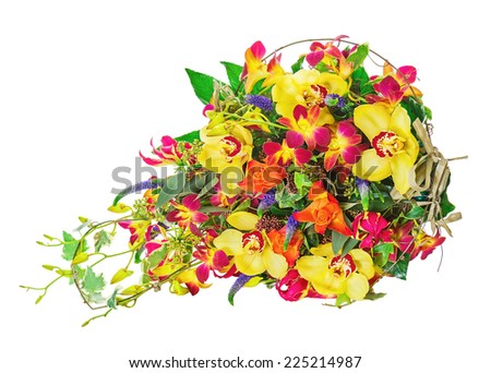 Bouquet from Flowers Isolated on White Background. Closeup. - stock photo