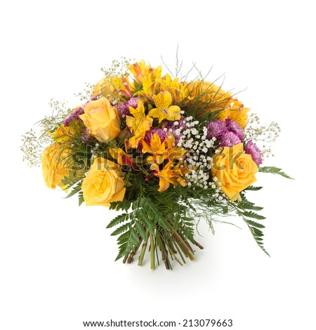 Bouquet made of Yellow roses and alstroemeria flowers, pink chrysanthemum and gypsophila isolated on white. - stock photo