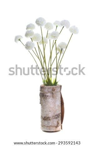 bouquet of artificial flowers in a vase of white birch bark isolated - stock photo