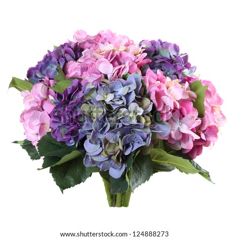 bouquet of artificial hydrangea on a white background - stock photo