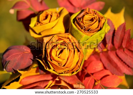 Bouquet of autumn leaves in the form of a rose - stock photo