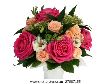 bouquet of beautiful flowers in vase isolated - stock photo