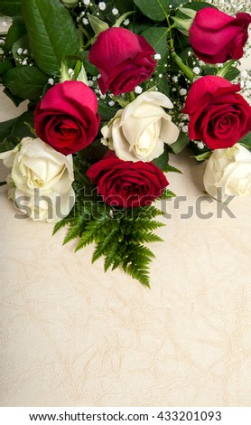 bouquet of blossoming dark red and white roses - stock photo