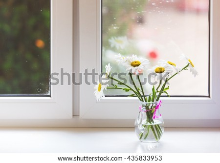 Bouquet of chamomiles flowers on the window sill - stock photo