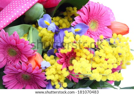 Bouquet of colorful flowers isolated on white background - stock photo