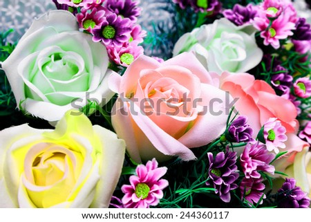 Bouquet of colorful rose  - stock photo