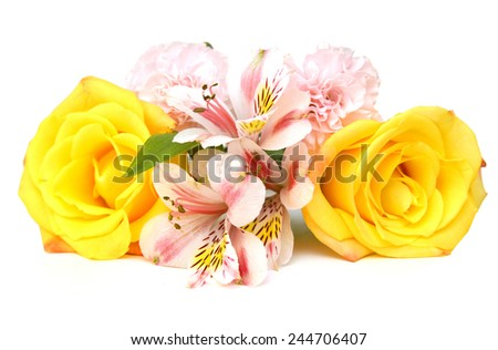 bouquet of colorful roses and lily isolated on white - stock photo