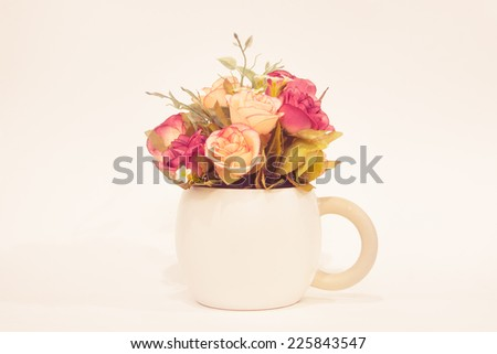 Bouquet of colorful roses in white vase : filtered process - stock photo