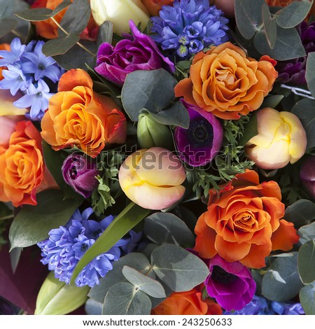 bouquet of colorful spring flowers. tulip, ranunculus, hyacinth, daisy, anemone. - stock photo