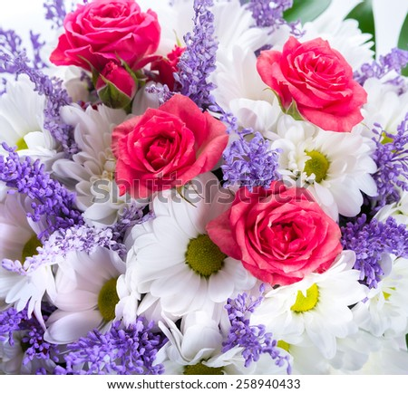 Bouquet of delicate roses, floral background - stock photo