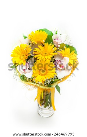 Bouquet of different flowers in vase isolated on white  - stock photo