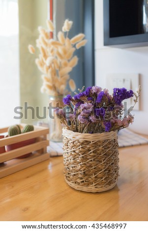 Bouquet of dried flowers in vase. Dried flower for interior decoration. Interior object.(selective focus) - stock photo