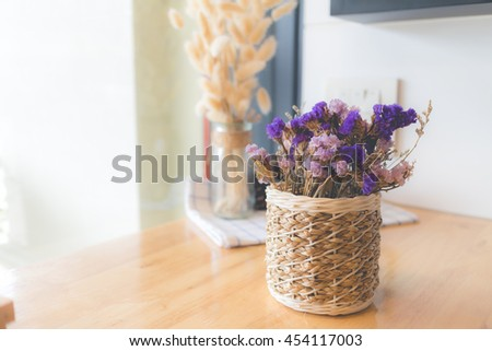 Bouquet of dried flowers in vase. Dried flower for interior decoration. Interior object(vintage effect,selective focus) - stock photo