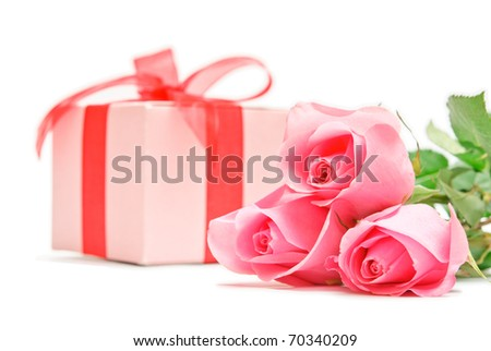 bouquet of flowers and gift - stock photo