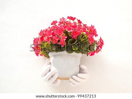 bouquet of flowers in a vase and white background - stock photo