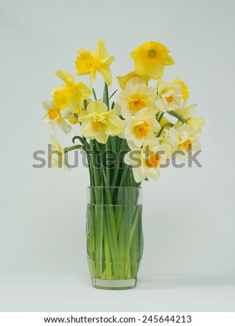 Bouquet of flowers in a vase of glass - stock photo