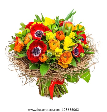 bouquet of flowers in vase - stock photo