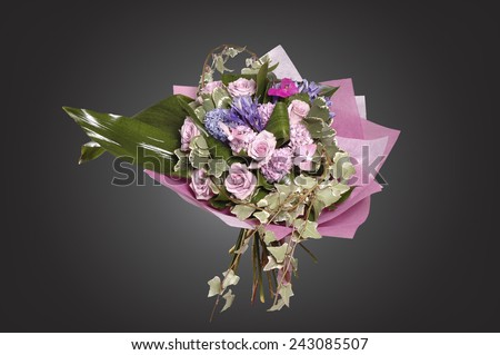 bouquet of flowers isolated on grey background - stock photo