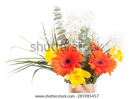Bouquet of flowers isolated on white background - stock photo