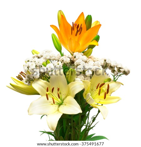Bouquet of flowers, lilies and daisies isolated on white background - stock photo