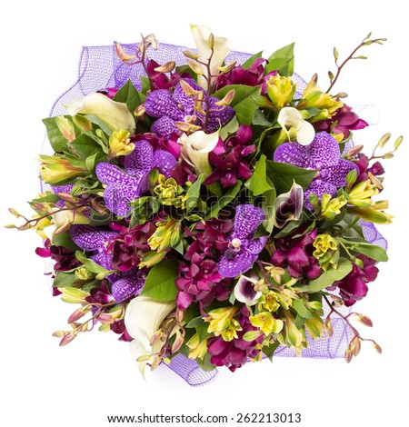 Bouquet of flowers top view isolated on white - stock photo