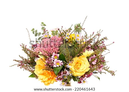 Bouquet of flowers with autumn decoration, over the flowers you can write some text - stock photo