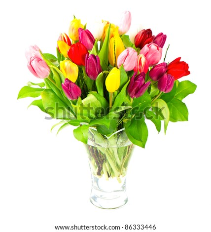 bouquet of fresh assorted tulip flowers - stock photo