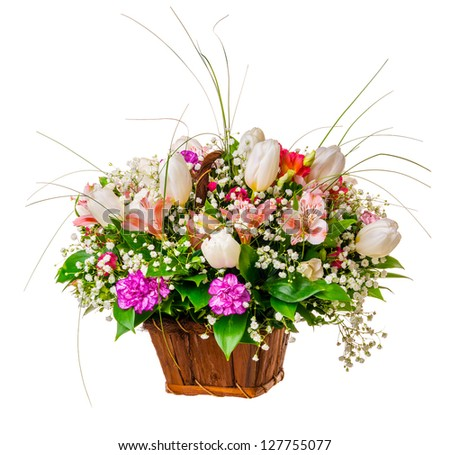 bouquet of fresh flowers isolated on white background - stock photo