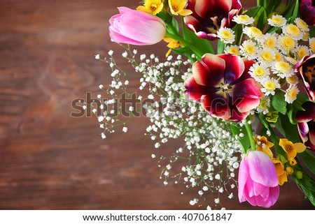 Bouquet of fresh flowers, top view - stock photo