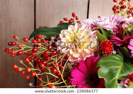 Bouquet of gerbera and dahlia flowers - stock photo
