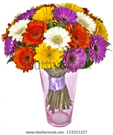 bouquet of gerberas in vase isolated on white background - stock photo