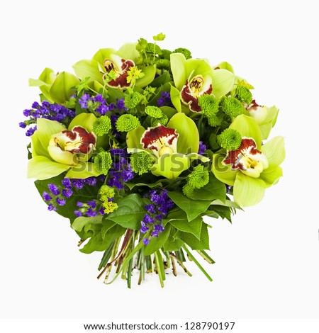 bouquet of green orchids  isolated on white - stock photo